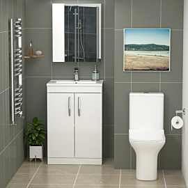 Turin 500mm Gloss White 2-Door Vanity Unit With Cube Close Coupled Toilet