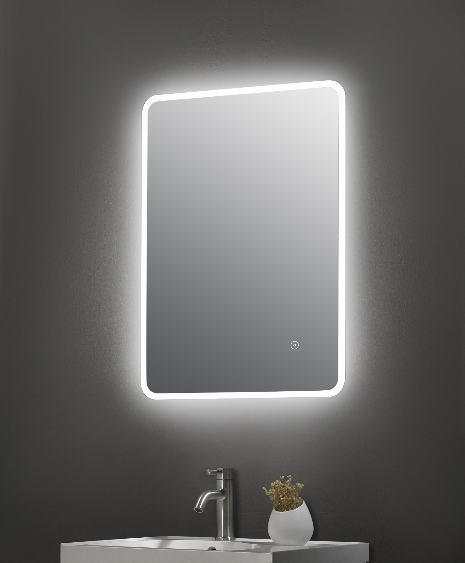 Ambient 500mm Chrome Wall Hung Led Mirror Cabinet