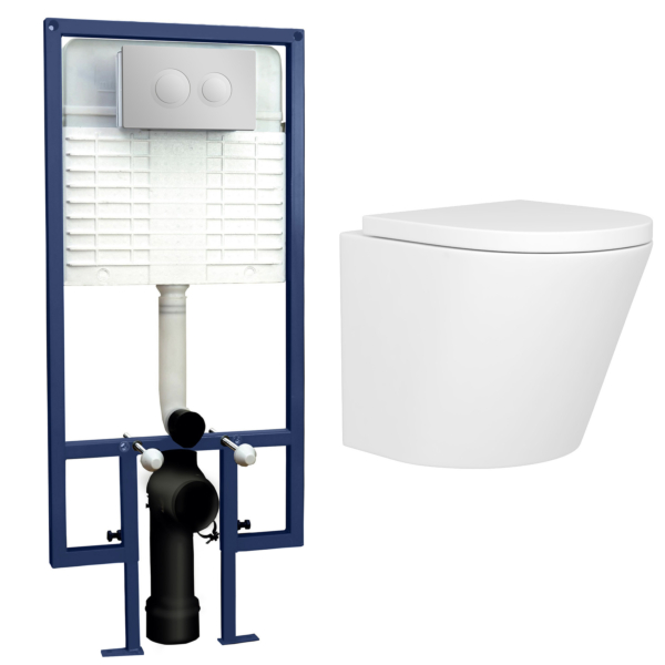 Cesar Short Projection Wall Hung Rimless Toilet with Seat & Wall Hung Frame with Round Push Button