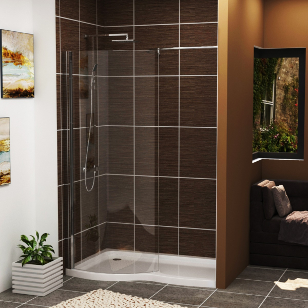 Elegance Wet Room Shower Screen 8mm Easy Clean Glass with 1400 x 900mm Shower Tray Left Handed