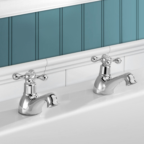 Kartell Victory Twin Basin Pillar Taps with Free Push Button Waste