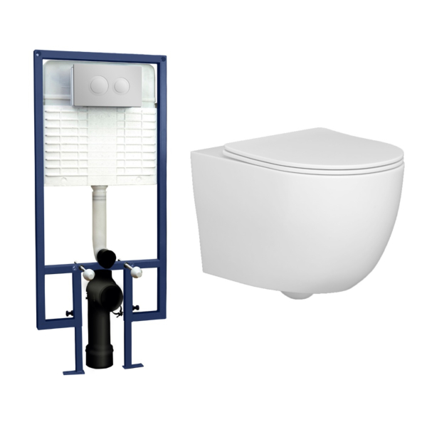 Abacus Wall Hung Rimless Toilet with Slim Soft Close Seat & Wall Hung Frame - Round Push Button