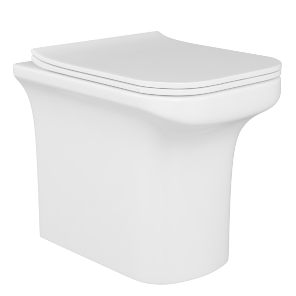Crosby Rimless BTW Back to Wall Toilet Pan with Slim Soft Close Seat