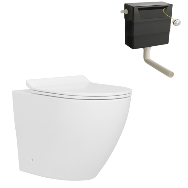 Abacus Rimless Back to Wall  Toilet Pan and Slim Soft Close Seat with Concealed Cistern