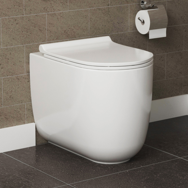 Skye Short Projection Back To Wall Rimless Toilet Pan BTW with Slim Soft Close Seat