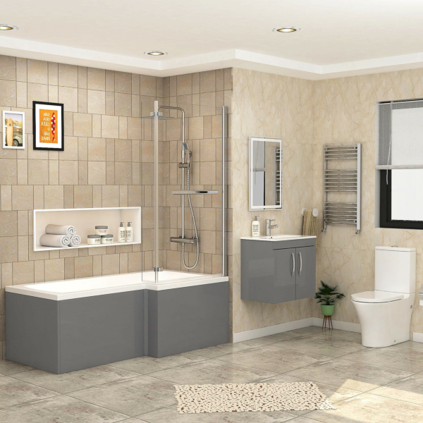 Qubix 1700 x 850mm Right Hand L-Shaped Shower Bath with Screen +  Front Panel, 2 Door Wall Hung Vanity Unit & Peak Toilet