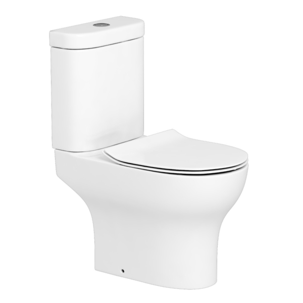 Rimless Close Coupled Toilet with Slim Soft Close Seat and Dual Flush Cistern - Breeze