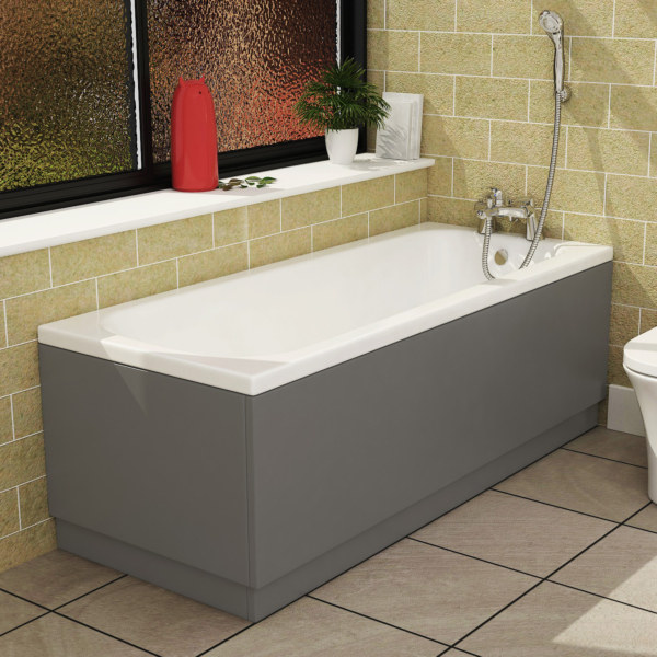 Breeze Round Single Ended Bath 1500 x 700mm Acrylic Inc MDF Grey Gloss Front Panel