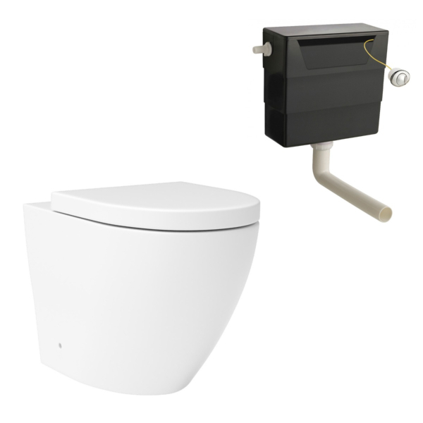 Abacus Rimless Back to Wall Toilet Pan and Soft Close Seat with Concealed Cistern