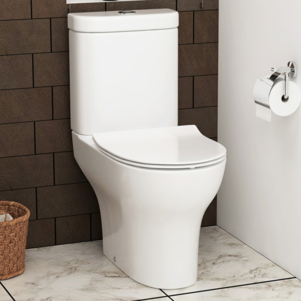 Breeze Rimless Close Coupled Toilet and Slim Soft Close Seat with Cistern