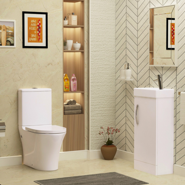 Cloakroom Suite 400mm 1 Door Basin Floor Standing Vanity Unit and Close Coupled Toilet with Cistern
