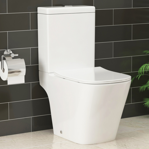 Elite Rimless Square Close Coupled Toilet and Slim Soft Close Seat with Cistern