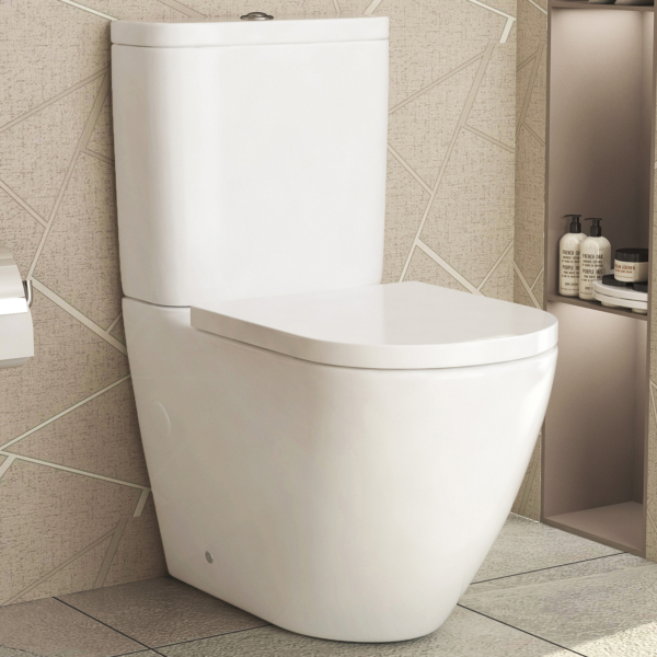 Abacus Close Coupled Rimless Toilet and Soft Close Seat with Cistern