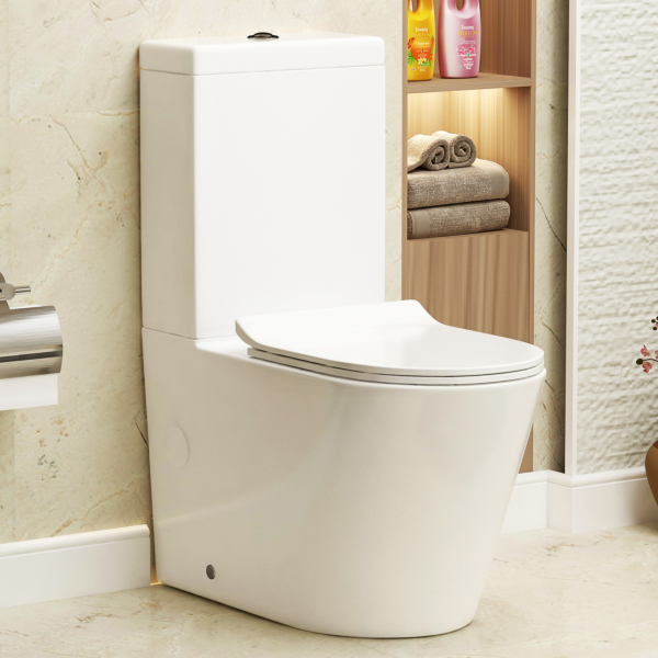Cesar Short Projection Close Coupled Rimless Toilet and Slim Soft Close Seat with Cistern