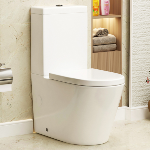 Cesar Short Projection Close Coupled Rimless Toilet and Soft Close Seat with Cistern