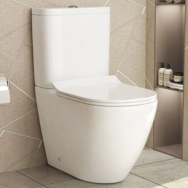 Abacus Close Coupled Rimless Toilet and Slim Soft Close Seat with Cistern