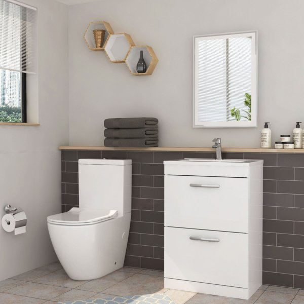 Turin 500mm Gloss White 2-Drawer Vanity Unit with Abacus Close Coupled Toilet - Slim