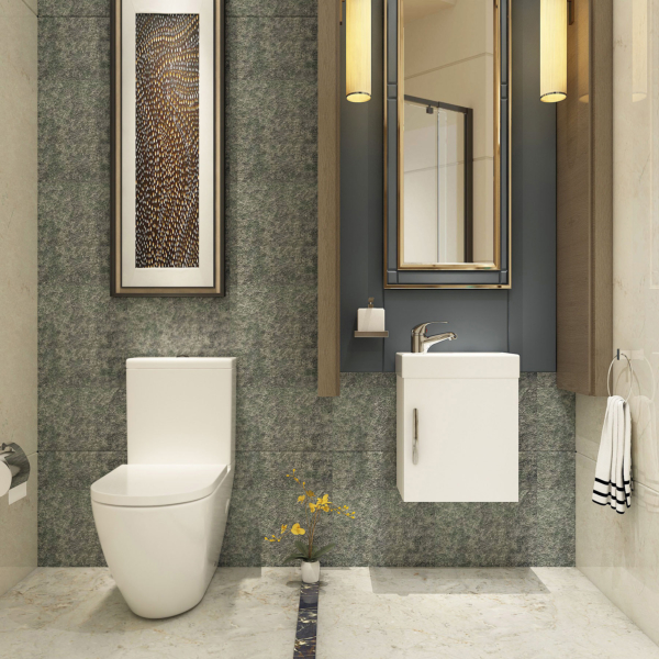 Cloakroom Suite 400mm Gloss White 1 Door Wall Hung Vanity Unit Basin & Abacus Rimless Toilet