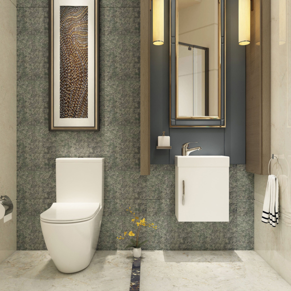Cloakroom Suite 400mm Gloss White 1 Door Wall Hung Vanity Unit Basin & Abacus Rimless Toilet - Optional Seat
