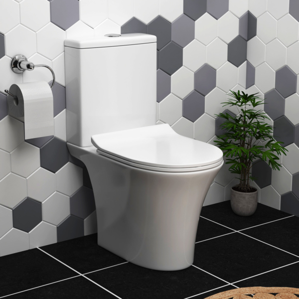 Amaze Rimless Close Coupled Toilet and Slim Soft Close Seat with Cistern