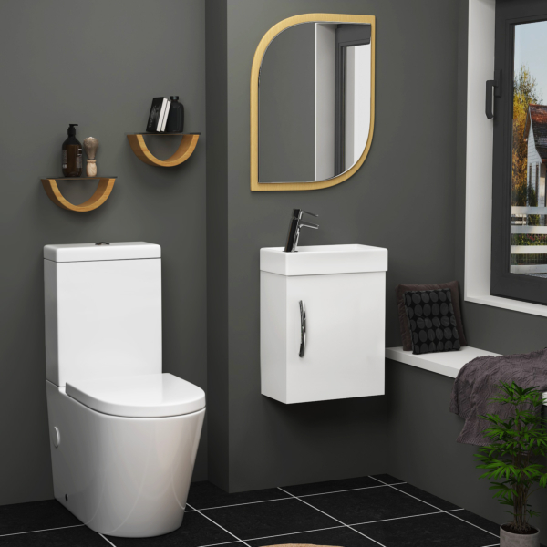 Cloakroom Suite 400mm Gloss White 1 Door Wall Hung Vanity Unit Basin With Cesar Toilet - Optional Seat