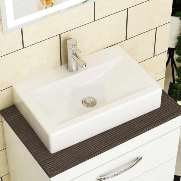 Icona Rectangular Counter Top Basin Vessels 450mm 1 Tap Hole