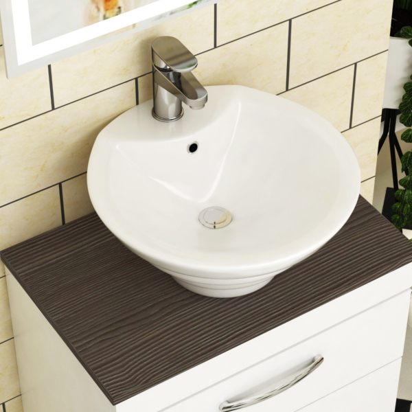 Cesar Round Counter Top Basin Vessels 460mm 1 Tap Hole
