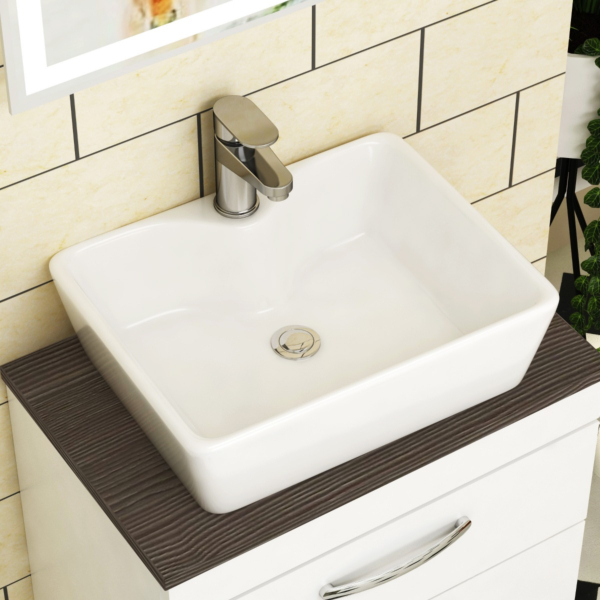 Cube Square Counter Top Basin Vessels 370mm 1 Tap Hole