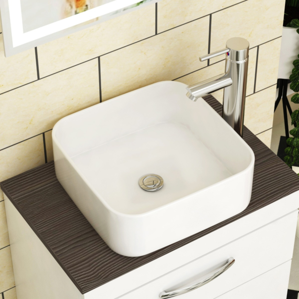 Elena Soft Square Counter Top Basin Vessels 365mm Sit On Worktop