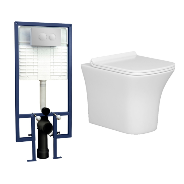 Cube Short Projection Wall Hung Rimless Toilet with Slim Soft Close Seat & Wall Hung Frame - Round Push Button