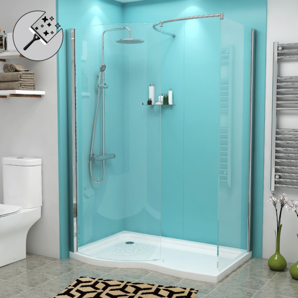 Elegance 8mm Easy Clean Glass Walk in Enclosure 1400x900mm with Tray Left Handed