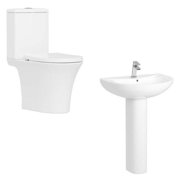 Amaze Rimless Close Coupled Toilet with Soft Close Seat & 520mm Full Pedestal Basin - Bathroom Suite