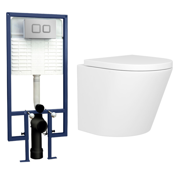 Cesar Short Projection Wall Hung Rimless Toilet with Seat & Wall Hung Frame with Square Push Button