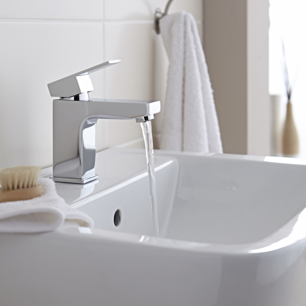 Kartell Element Mono Basin Mixer Tap + Free Click Button Waste with Chrome