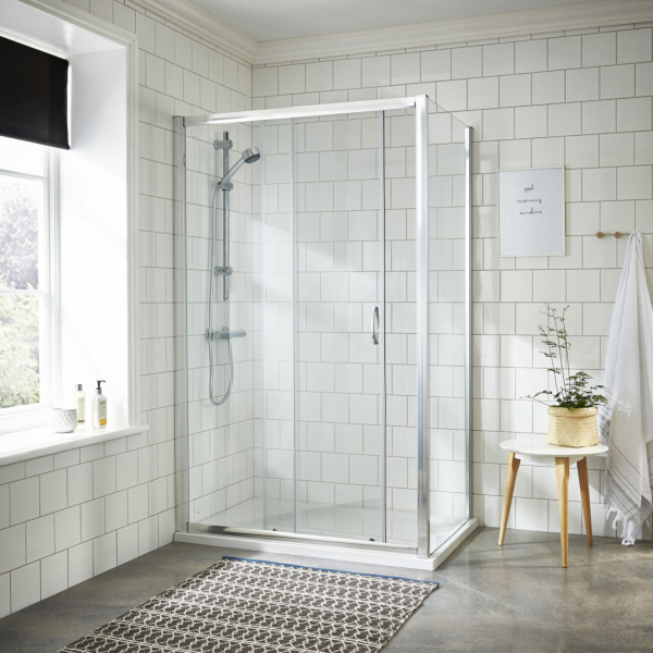 Ella 5mm Sliding Shower Enclosure with Pearlstone Tray 1200 x 900mm
