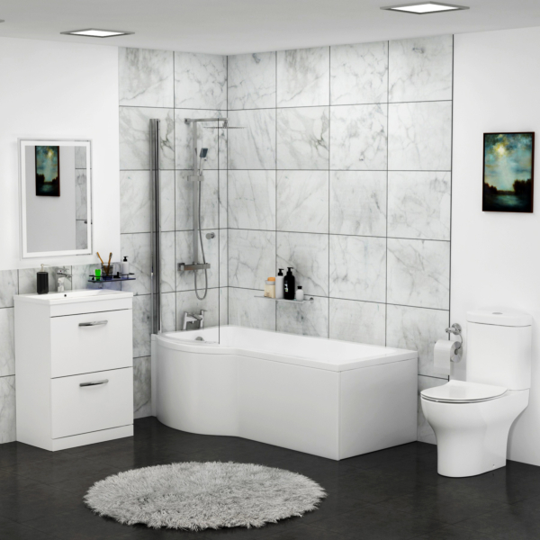 Abacus Left Handed P Shaped Bath with Screen + Front Panel, Floor Standing Vanity Unit & Close Coupled Toilet