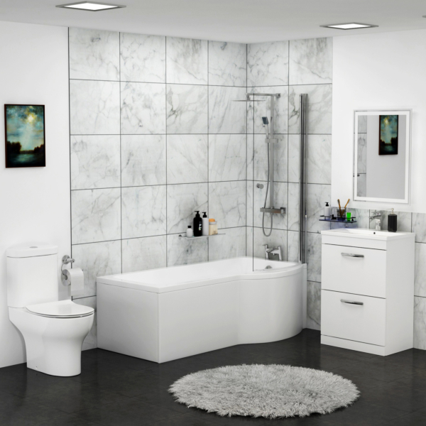 Abacus Right Handed P Shaped Bath with Screen + Front Panel, Floor Standing Vanity Unit & Close Coupled Toilet