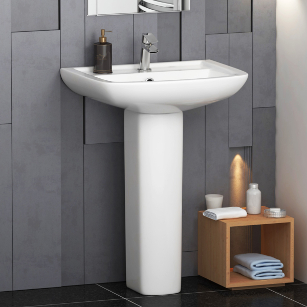 Cube Square 610mm Bathroom Basin & Pedestal With 1 Tap Hole