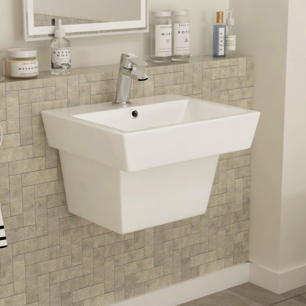 Qubix Square 560mm Bathroom Wall Hung Basin One Piece 1 Tap Hole