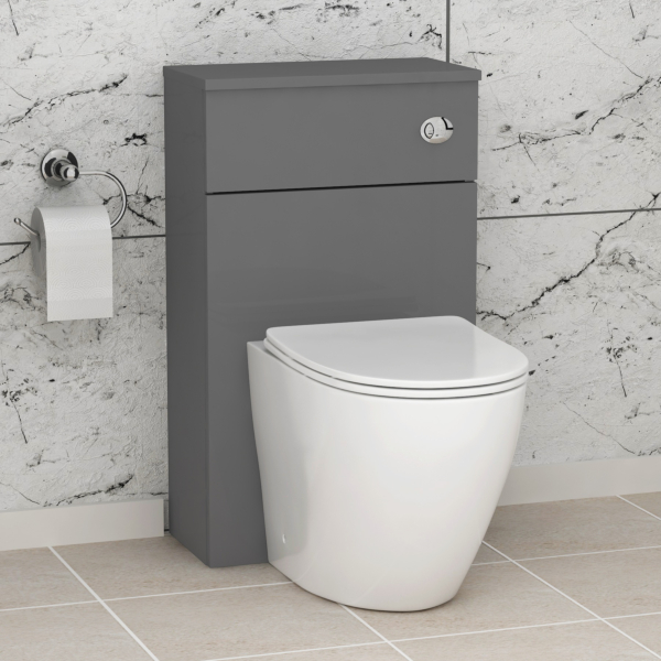 Grey Gloss 500mm WC Toilet Unit with Abacus Rimless BTW Pan & Slim Seat, Cistern