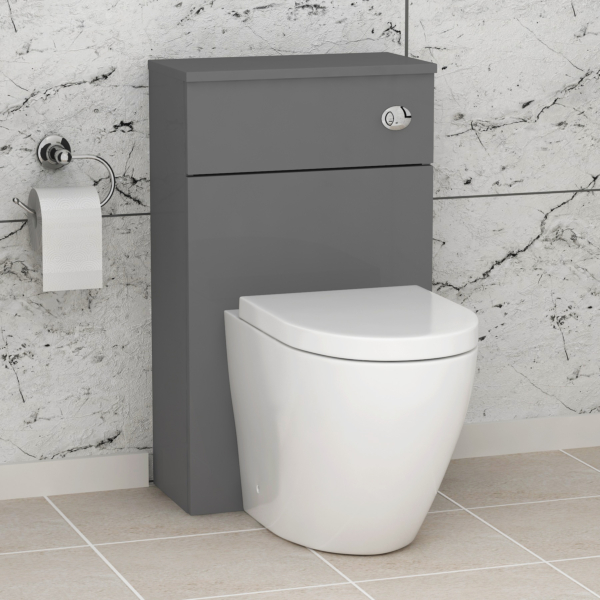 500mm Grey Gloss BTW WC Unit with Abacus Rimless Toilet Pan & Seat, Cistern