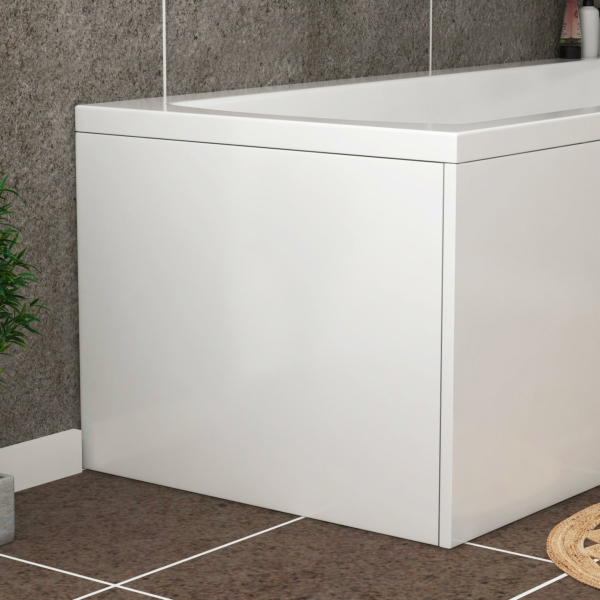Turin 700mm Gloss White L Shaped MDF End Bath Panel - Wooden