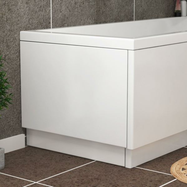 Turin 700mm High Gloss White MDF End Bath Panel - Wooden