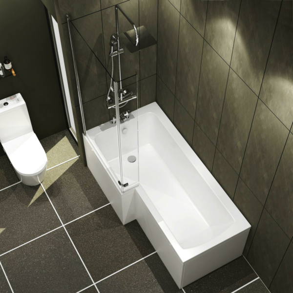 Qubix 1500 x 850mm Left Hand L Shaped Shower Bath tub with Front, End Panel & Hinged Screen with Flipper End Panel