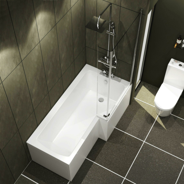 Qubix 1500/1600/1700mm Right Hand L-Shaped Shower Bath tub with Hinged Screen with Flipper End Panel, Side & End Panel