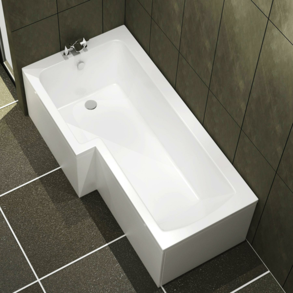 Qubix 1600 x 850mm Left Hand L-Shaped Square Shower Bath tub with Front & End Panel