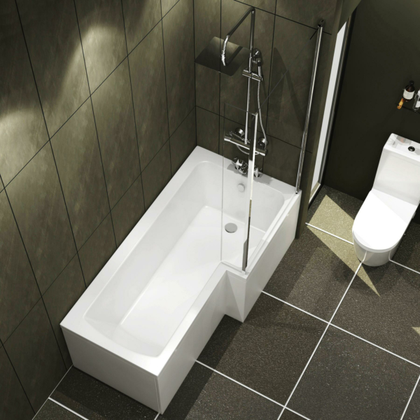 Qubix 1600 x 850mm Right Hand L Shaped Shower Bath tub with Front, End Panel & Shower Screen
