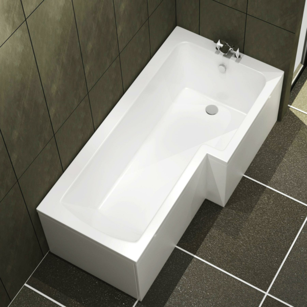 Qubix 1600 x 850mm Right Hand L-Shaped Square Shower Bath tub with Front & End Panel