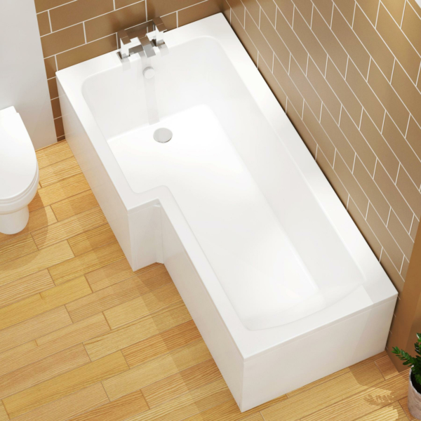 Qubix 1700 x 850mm Left Hand L-Shaped Square Shower Bath tub with MDF Front Panel