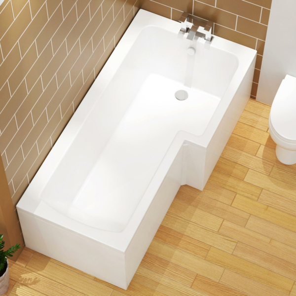 Qubix 1700 x 850mm Right Hand L-Shaped Square Shower Bath tub with MDF Front & End Panel